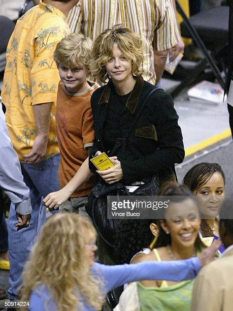 Actress Meg Ryan and son Jack attend Game Six of the NBA Western Conference Finals between the Minnesota Timberwolves and the Los Angeles Lakers on...
