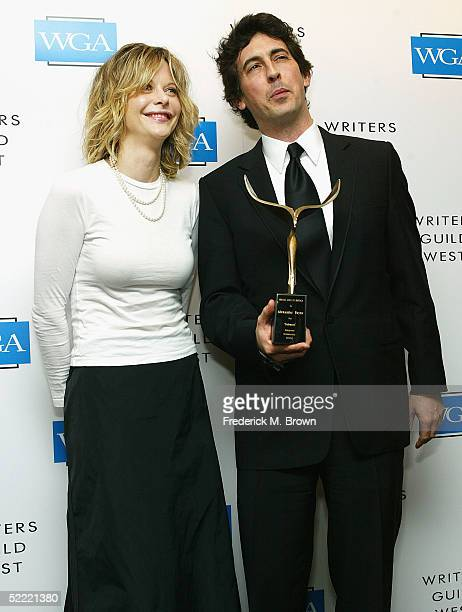 Actress Meg Ryan and writer Alexander Payne pose for photographers during the 57th Annual Writers Guild Awards at the Hollywood Palladium on February...
