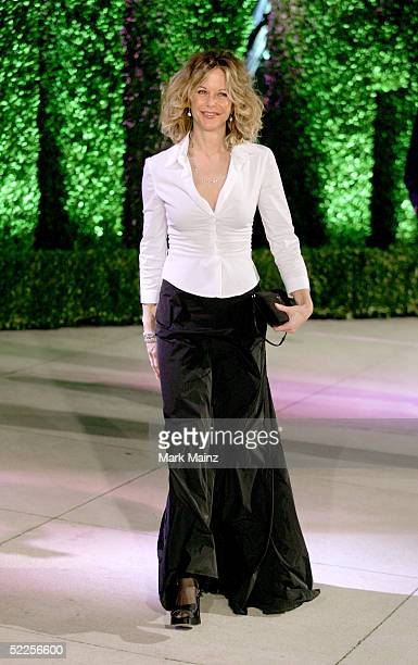 Actress Meg Ryan arrives at the Vanity Fair Oscar Party at Mortons on February 27 2005 in West Hollywood California