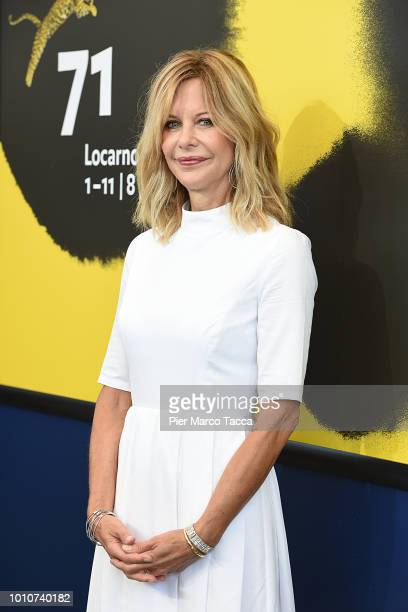 Actress Meg Ryan attends a conversation with the public during the 71st Locarno Film Festival on August 4 2018 in Locarno Switzerland