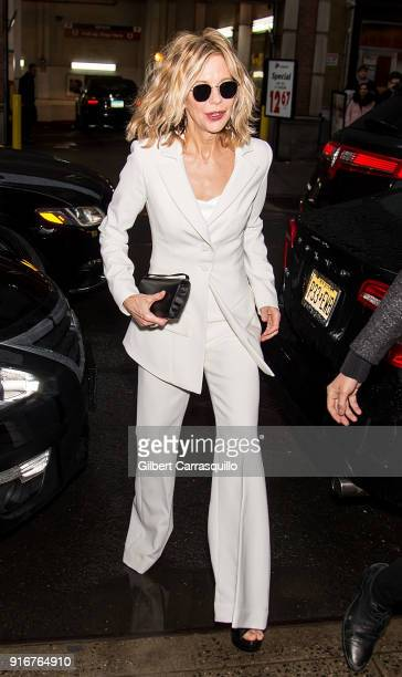 Actress Meg Ryan is seen arriving to Christian Siriano fashion show during New York Fashion Week at Grand Lodge on February 10 2018 in New York City