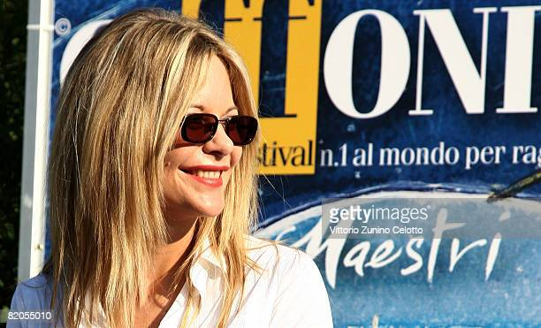 Actress Meg Ryan poses at the Giffoni Film Festival on July 24 2008 in Giffoni Italy