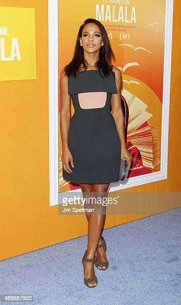 Actress Megalyn Echikunwoke attends the He Named Me Malala New York premiere at the Ziegfeld Theater on September 24 2015 in New York City