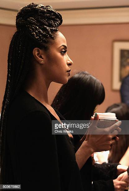 Actress Megalyn Echikunwoke waits in the green room during the AE Networks 2016 Television Critics Association Press Tour for Damien at The Langham...