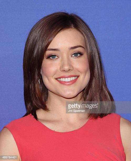 Actress Megan Boone from The Blacklist attends the 2014 NBC Upfront Presentation at The Jacob K Javits Convention Center on May 12 2014 in New York...