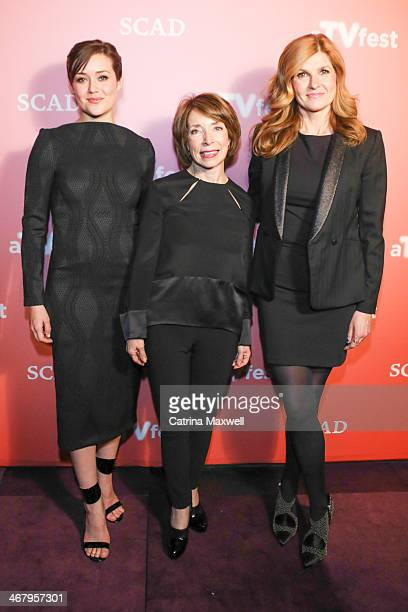 Actress Megan Boone President of SCAD Paula Wallace and actress Connie Britton pose during the aTVfest on February 8 2014 in Atlanta Georgia