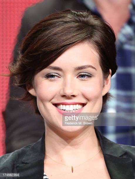 Actress Megan Boone speask onstage during 'The Blacklist' panel discussion at the NBC portion of the 2013 Summer Television Critics Association tour...