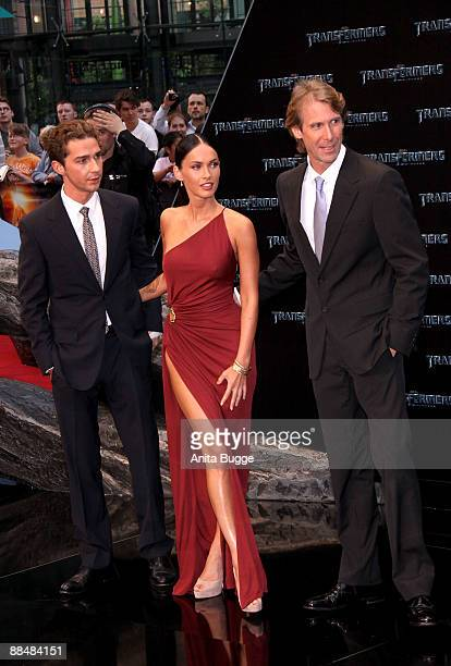Actress Megan Fox actor Shia LaBeouf and director Michael Bay attend the German premiere of 'Transformers Revenge Of The Fallen' at the Sony Center...