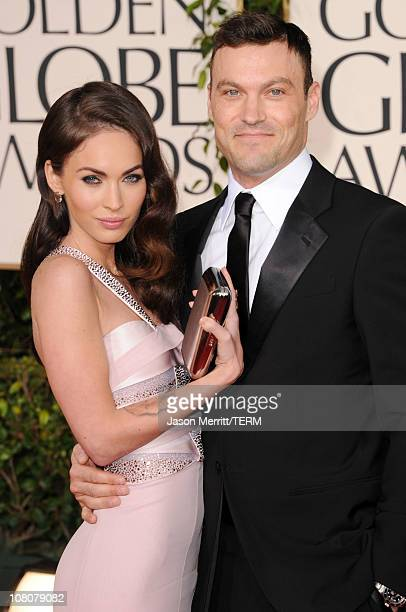 Actress Megan Fox and actor Brian Austin Green arrive at the 68th Annual Golden Globe Awards held at The Beverly Hilton hotel on January 16, 2011 in...