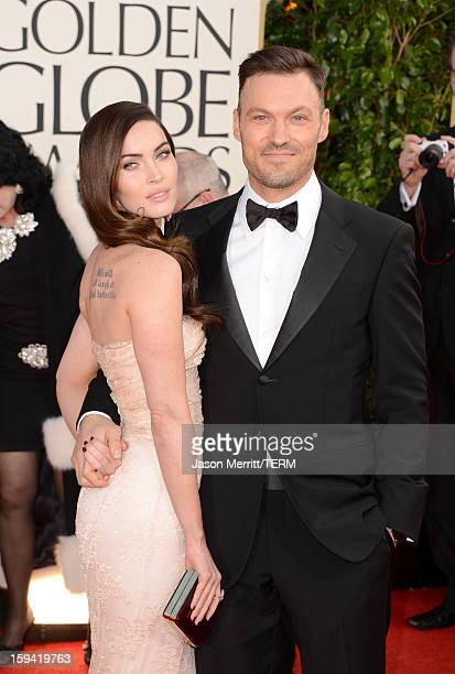 Actress Megan Fox and actor Brian Austin Green arrive at the 70th Annual Golden Globe Awards held at The Beverly Hilton Hotel on January 13, 2013 in...