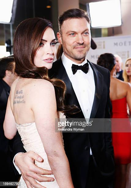Actress Megan Fox and actor Brian Austin Green arrive at the 70th Annual Golden Globe Awards held at The Beverly Hilton Hotel on January 13 2013 in...