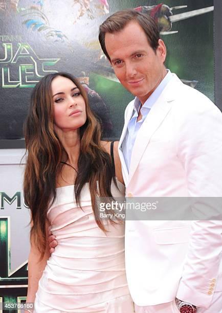 Actress Megan Fox and actor Will Arnett arrive at the Los Angeles Premiere 'Teenage Mutant Ninja Turtles' at Regency Village Theatre on August 3 2014...