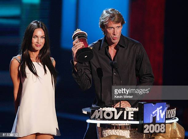 Actress Megan Fox and director Michael Bay accept the award for Best Movie for Transformers during the 17th annual MTV Movie Awards held at the...