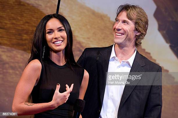 Actress Megan Fox and director Michael Bay attend the 'Transformers Revenge of the Fallen' South Korea Premiere at Yongsan CGV on June 9 2009 in...