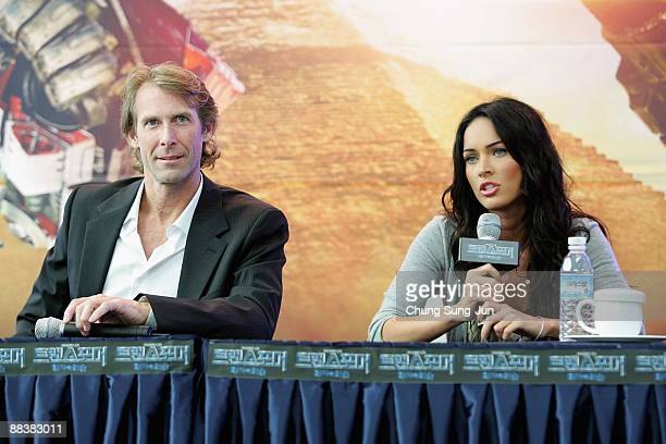 Actress Megan Fox and director Michael Bay attend Transformers Revenge of the Fallen press conference at Kring on June 10 2009 in Seoul South Korea...