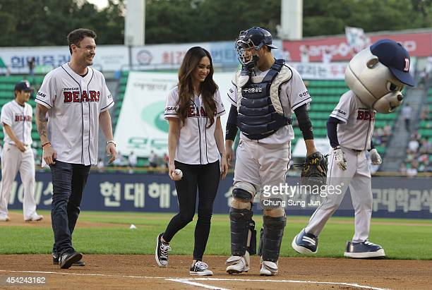 Actress Megan Fox and her husband Brian Austin Green leave after throw out the first pitch at the LG Twins vs Doosan Bears as a part of promotion for...