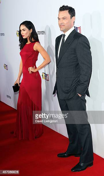 Actress Megan Fox and husband actor Brian Austin Green attend Ferrari's 60th Anniversary in the USA Gala at the Wallis Annenberg Center for the...