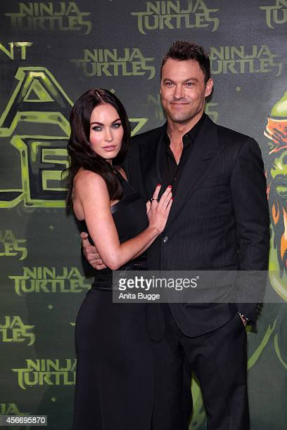 Actress Megan Fox and husband Brian Austin Green attend the Berlin premiere of the film 'Teenage Mutant Ninja Turtles' at UFO Sound Studio at...