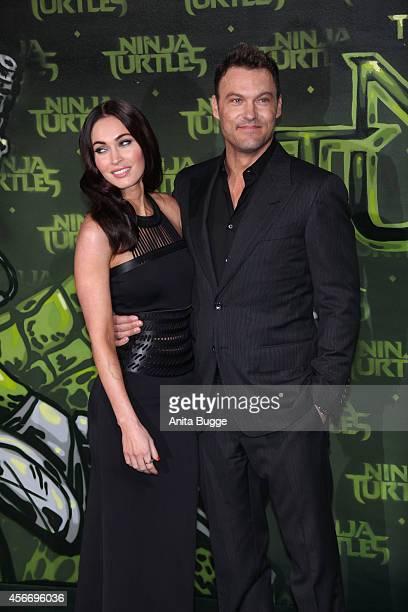 Actress Megan Fox and husband Brian Austin Green attend the Berlin premiere of the film 'Teenage Mutant Ninja Turtles' at UFO Sound Studio at...