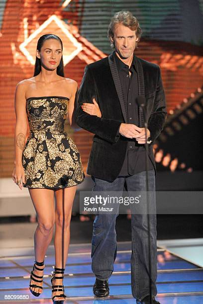 Actress Megan Fox and Producer Michael Bay onstage during the 2009 MTV Movie Awards held at the Gibson Amphitheatre on May 31 2009 in Universal City...