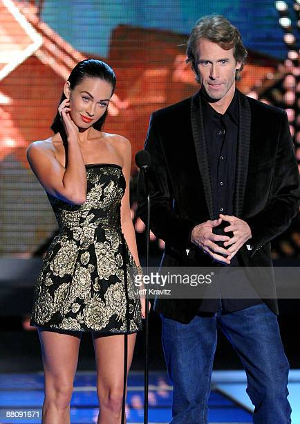 Actress Megan Fox and Producer/Director Michael Bay onstage during the 2009 MTV Movie Awards held at the Gibson Amphitheatre on May 31 2009 in...