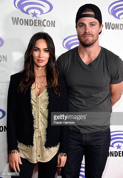 """Actress Megan Fox and Stephen Amell attend a panel at WonderCon 2016 to promote the upcoming release of Paramount Pictures' """"Teenage Mutant Ninja..."""