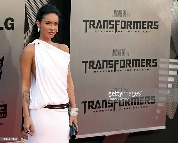 Actress Megan Fox arrives at the premiere of Dreamworks' Transformers Revenge Of The Fallen held at Mann Village Theatre on June 22 2009 in Los...