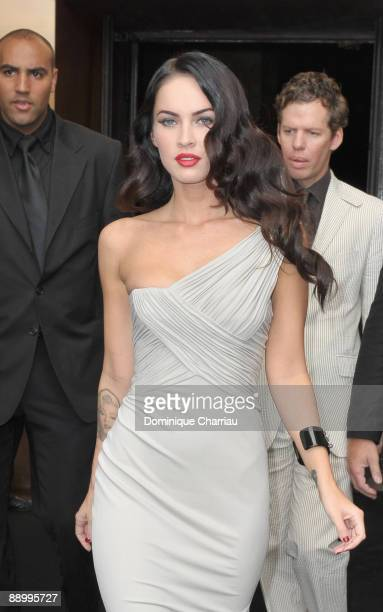 Actress Megan Fox arrives for Giorgio Armani 'Idol' Perfume launch at Cafe de l'Homme on July 7 2009 in Paris France