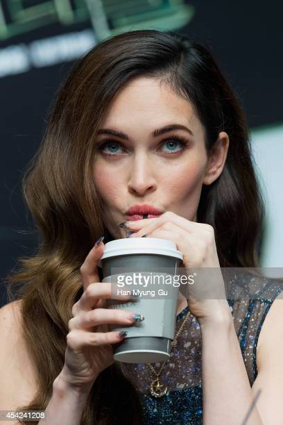 Actress Megan Fox attends the press conference for South Korean premiere of 'Teenage Mutant Ninja Turtles' at Shilla Hotel on August 27 2014 in Seoul...
