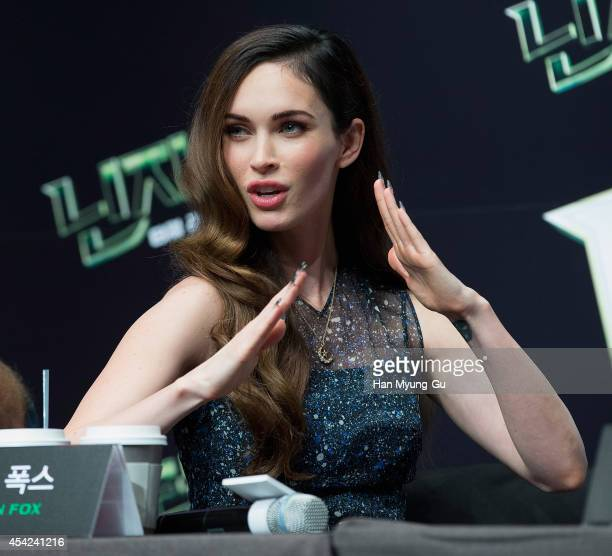 Actress Megan Fox attends the press conference for South Korean premiere of Teenage Mutant Ninja Turtles at Shilla Hotel on August 27 2014 in Seoul...