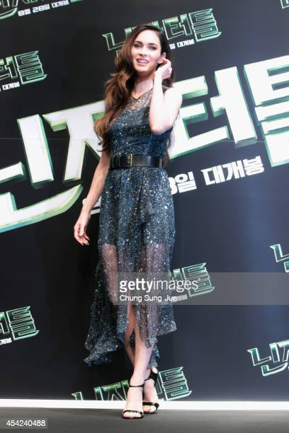 Actress Megan Fox attends the Press Conference of Paramount Pictures' TEENAGE MUTANT NINJA TURTLES at Shilla Hotel on August 27 2014 in Seoul South...