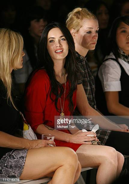 Actress Megan Fox backstage and frontrow at Coco Johnsen Spring 2008 collection during Los Angeles Mercedes Benz Fashion Week at Smashbox Studios on...
