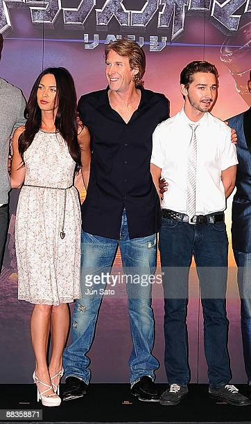 Actress Megan Fox director Michael Bay actor Shia LaBeouf attend the Transformers Revenge of the Fallen press conference at Shinjuku Park Tower on...