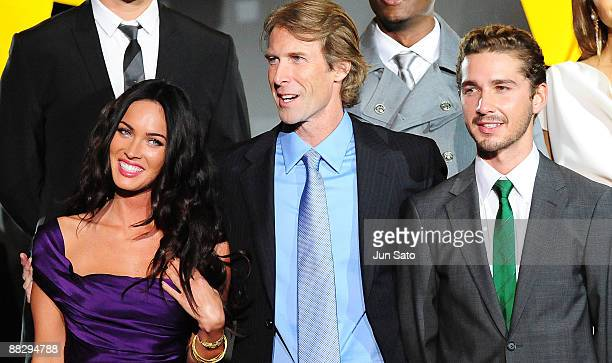 Actress Megan Fox director Michael Bay and actor Shia LaBeouf attend the Transformers Revenge of the Fallen World Premiere at Roppongi Hills on June...