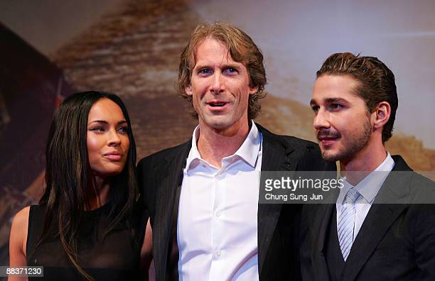Actress Megan Fox director Michael Bay and actor Shia LaBeouf attend the Transformers Revenge of the Fallen South Korea Premiere at Yongsan CGV on...