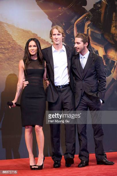 Actress Megan Fox director Michael Bay and actor Shia LaBeouf attend the 'Transformers Revenge of the Fallen' South Korea Premiere at Yongsan CGV on...