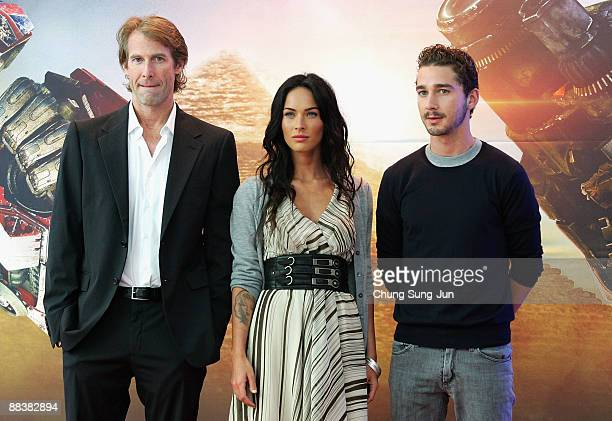 Actress Megan Fox director Michael Bay and actor Shia LaBeouf attends 'Transformers Revenge of the Fallen' press conference at Kring on June 10 2009...
