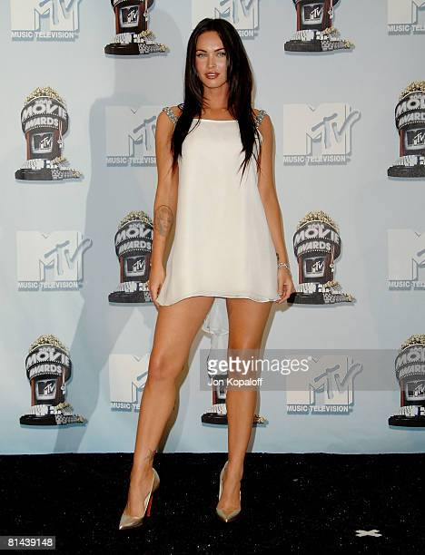 Actress Megan Fox in the press room at the 2008 MTV Movie Awards at the Gibson Amphitheatre on June 1 2008 in Universal City California