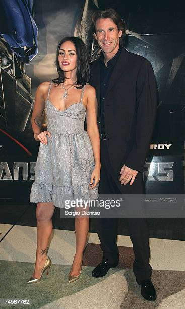 Actress Megan Fox of the US and Director Michael Bay attends the special event celebrity screening of the new film Transformers at Hoyts...