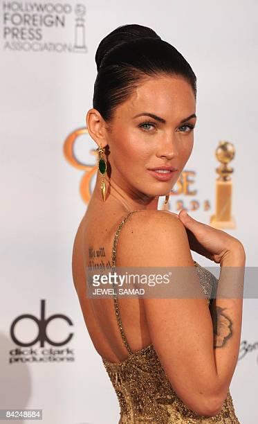 Actress Megan Fox poses in the press room at the 66th Annual Golden Globe Awards held at the Beverly Hilton Hotel on January 11 2009 in Beverly Hills...