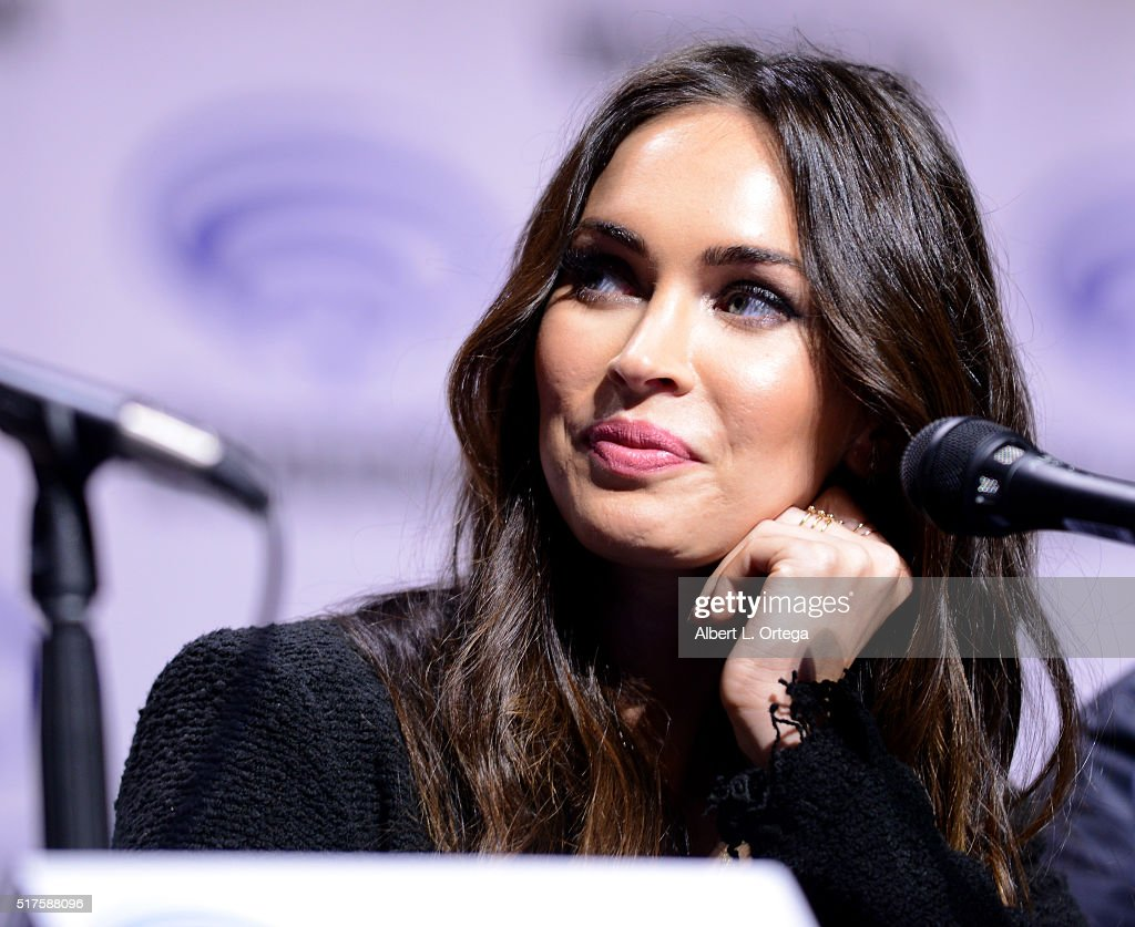 Actress Megan Fox promoting Teenage Mutant Ninja Turtles: Out Of The Shadows' on Day 1 of WonderCon held at Los Angeles Convention Center on March 25, 2016 in Los Angeles, California.