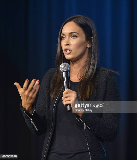 Actress Megan Fox speaks on stage at the 6th Annual Night of Generosity Gala presented by generosityorg at the Beverly Wilshire Four Seasons Hotel on...