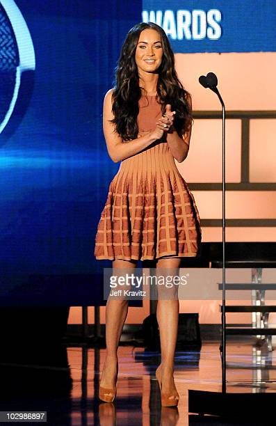 Actress Megan Fox speaks onstage at the 2010 VH1 Do Something! Awards held at the Hollywood Palladium on July 19, 2010 in Hollywood, California.