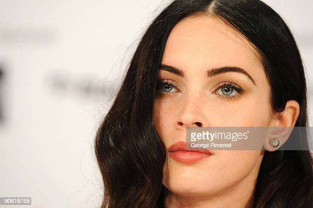 "Actress Megan Fox speaks onstage at the ""Jennifer�s Body"" press conference held at the Sutton Place Hotel on September 11, 2009 in Toronto, Canada."