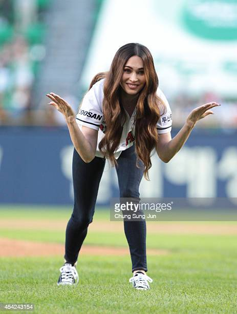 Actress Megan Fox throws out the first pitch at the LG Twins vs Doosan Bears as a part of promotion for South Korea premiere of 'Teenage Mutant Ninja...