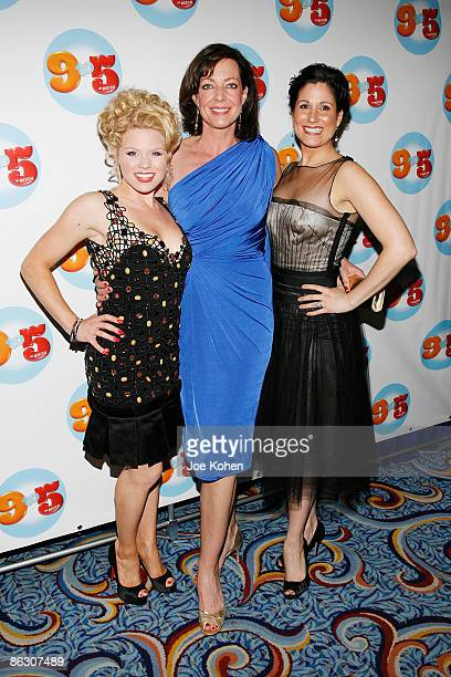 Actress Megan Hilty Allison Janney and Stephanie J Block attend the 9 to 5 The Musical Broadway opening night party at the Marriott Marquis on April...