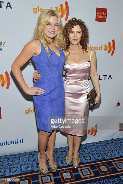 Actress Megan Hilty and Bernadette Peters attend the 23rd Annual GLAAD Media Awards presented by Ketel One and Wells Fargo at Marriott Marquis...