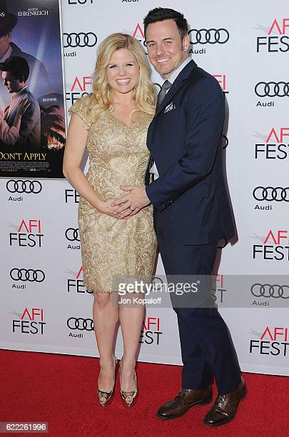 Actress Megan Hilty and Brian Gallagher arrive at AFI FEST 2016 Presented By Audi Opening Night Premiere Of 20th Century Fox's 'Rules Don't Apply' at...