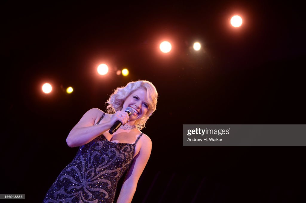 Actress Megan Hilty wearing Diamonds from the Tiffany & Co. 2013 Blue Book Collection performs onstage at the Tiffany & Co. Blue Book Ball at Rockefeller Center on April 18, 2013 in New York City.