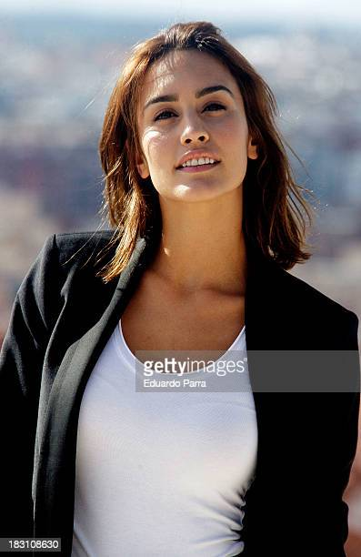 Actress Megan Montaner attends 'Dioses y perros' filming meeting with the press at Las Tetas Park on October 4 2013 in Madrid Spain